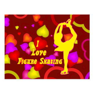 I Love Figure Skating Retro Postcard