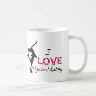 I LOVE Figure Skating, Snowflakes & Skater Coffee Mug