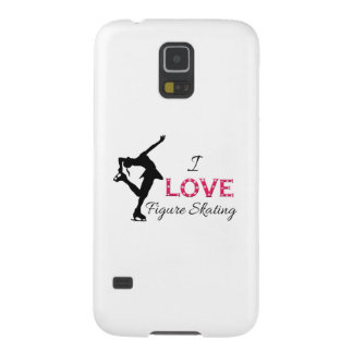 I LOVE Figure Skating, Snowflakes & Skater Galaxy S5 Cover