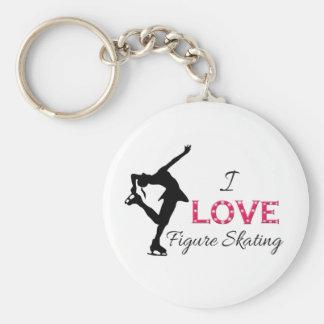 I LOVE Figure Skating, Snowflakes & Skater Keychain