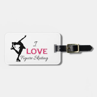 I LOVE Figure Skating, Snowflakes & Skater Luggage Tag