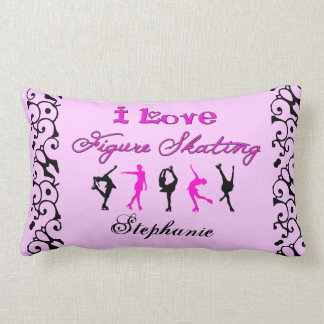 I Love Figure Skating w/ skaters (Pink) Lumbar Pillow