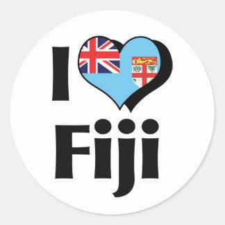 I Love Fiji Flag Classic Round Sticker