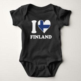 I Love Finland Finnish Flag Heart Baby Bodysuit