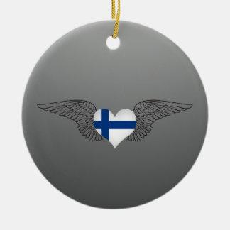 I Love Finland -wings Ceramic Ornament