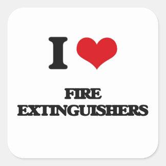 i LOVE fIRE eXTINGUISHERS Square Sticker
