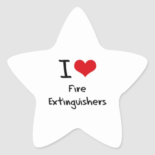I Love Fire Extinguishers Star Stickers