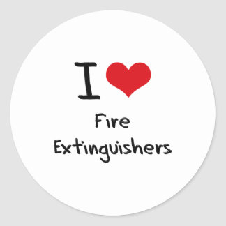 I Love Fire Extinguishers Round Stickers