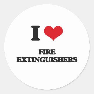 i LOVE fIRE eXTINGUISHERS Round Stickers