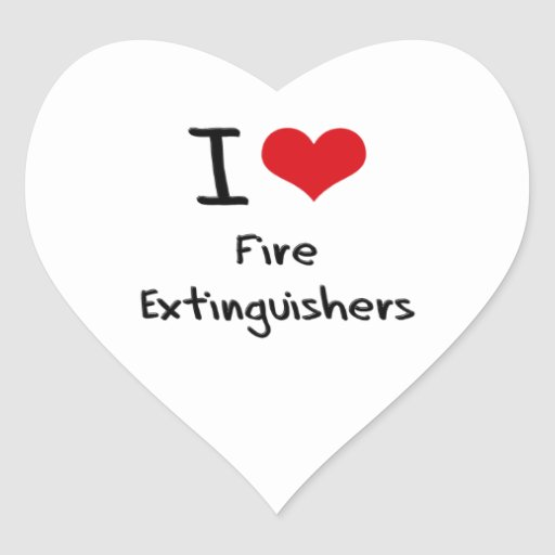 I Love Fire Extinguishers Heart Stickers