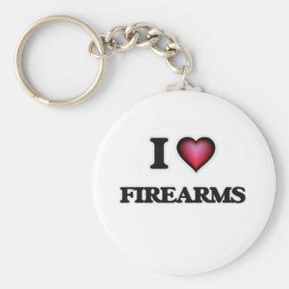 I love Firearms Basic Round Button Keychain