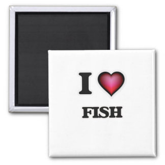 I love Fish Square Magnet
