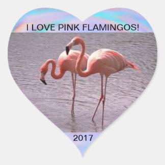 I LOVE FLAMINGOS 2017 HEART STICKER
