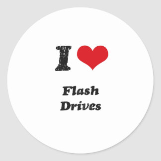 I Love FLASH DRIVES Classic Round Sticker