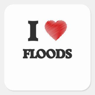 I love Floods Square Sticker