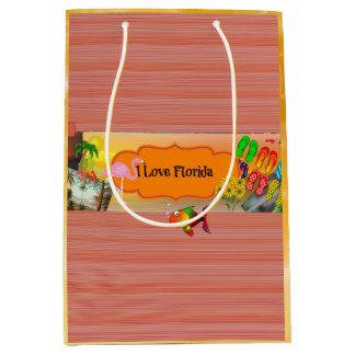 I Love Florida, Colorful Collage Medium Gift Bag