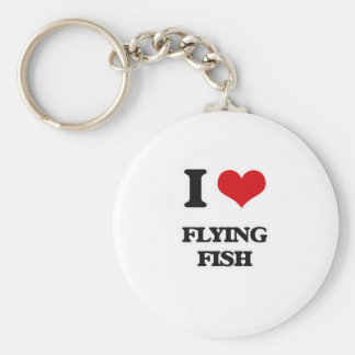 I Love Flying Fish Keychain