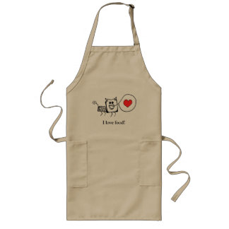 I love food, cute creature long apron (khaki)