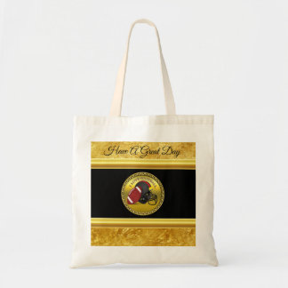 I love football with a football and helmet tote bag