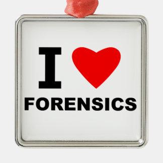 I Love Forensics Silver-Colored Square Ornament