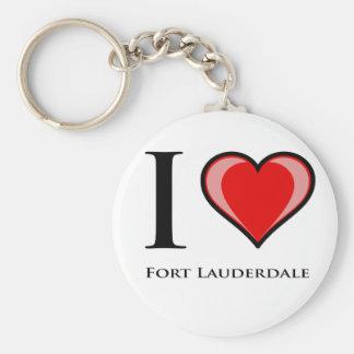 I Love Fort Lauderdale Basic Round Button Keychain