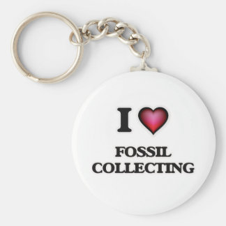 I Love Fossil Collecting Basic Round Button Keychain