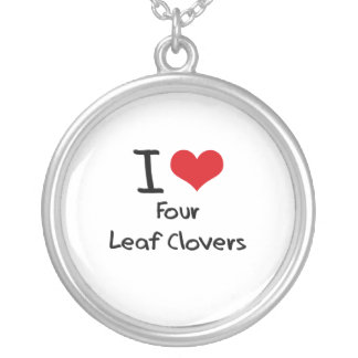I Love Four Leaf Clovers Personalized Necklace