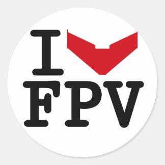I love FPV Classic Round Sticker