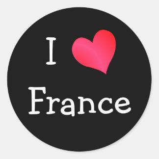 I Love France Classic Round Sticker