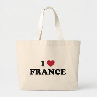 I Love France Large Tote Bag