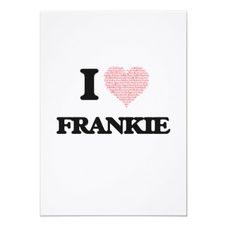 "I Love Frankie (Heart Made from Love words) 5"" X 7"" Invitation Card"
