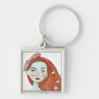 I love freckles key chain cute redhead girl