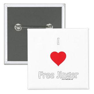 I love Free Jinger 2 Inch Square Button