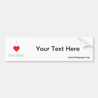 I love Free Jinger Bumper Sticker
