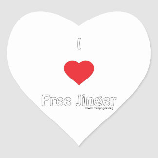 I love Free Jinger Heart Sticker