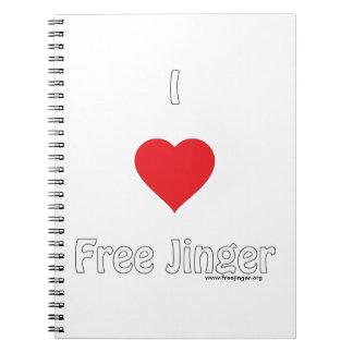 I love Free Jinger Spiral Notebook