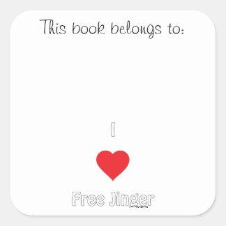 I love Free Jinger Square Sticker