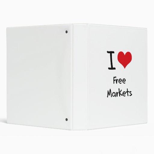 I Love Free Markets 3 Ring Binder