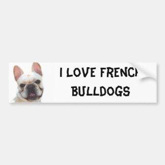 I Love French Bulldogs bumper sticker