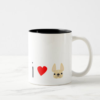 I Love Frenchies / Cream Two-Tone Coffee Mug