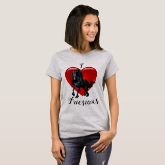 I Love Friesians, horse, Big red heart of love T-Shirt