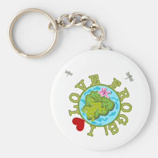 I Love Frogs Tshirts and Gifts Basic Round Button Keychain