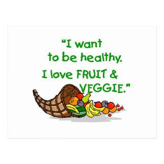 I LOVE FRUIT & VEGGIE POSTCARD