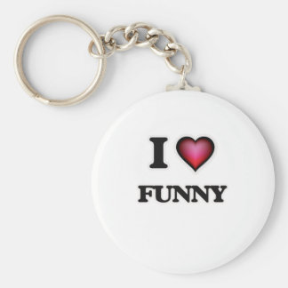 I love Funny Basic Round Button Keychain