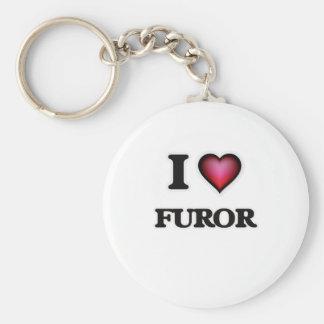 I love Furor Basic Round Button Keychain