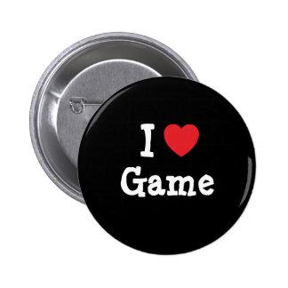 I love Game heart T-Shirt Pins