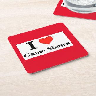 I Love Game Shows Square Paper Coaster