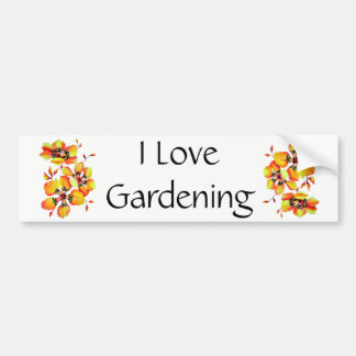 I love Gardening - Elegant Orange Flowers Bumper Sticker