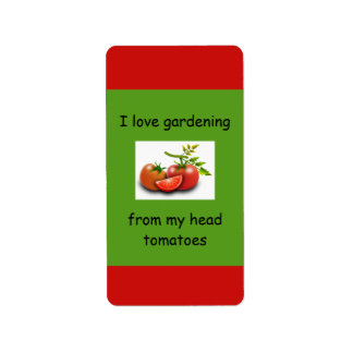 I love gardening from my head tomatoes label