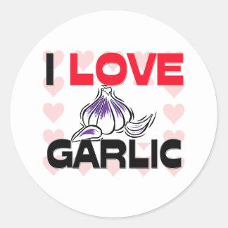 I Love Garlic Classic Round Sticker